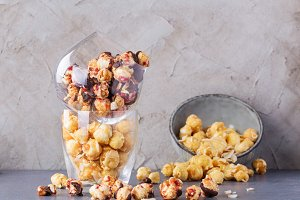 Sweet popcorn with chocolate
