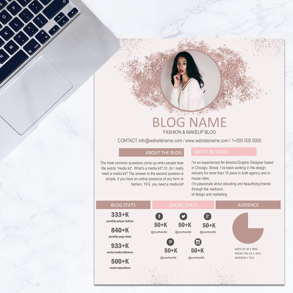 media kit template rose gold glitt resume templates creative