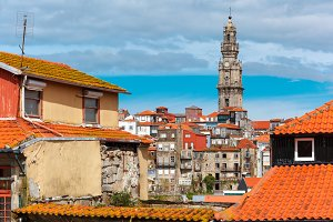 Fun colorful houses in Old town of Porto, Portugal
