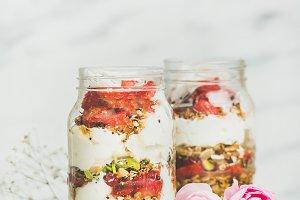 Yogurt & fresh strawberry breakfast