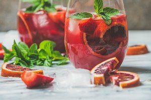 Blood orange and strawberry Sangria