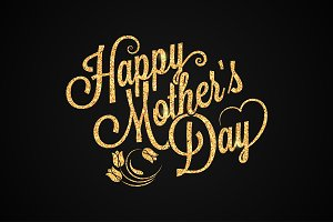 mothers day gold vintage lettering