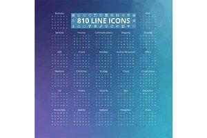 810 Line Icons Set