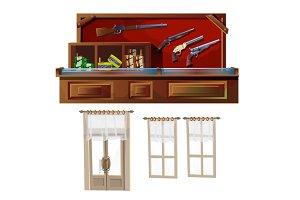 Weapons shop, door and windows