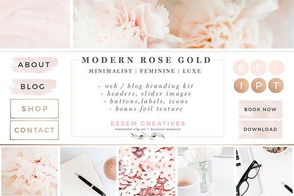 Modern Rose Gold Web Blog Brand Kit