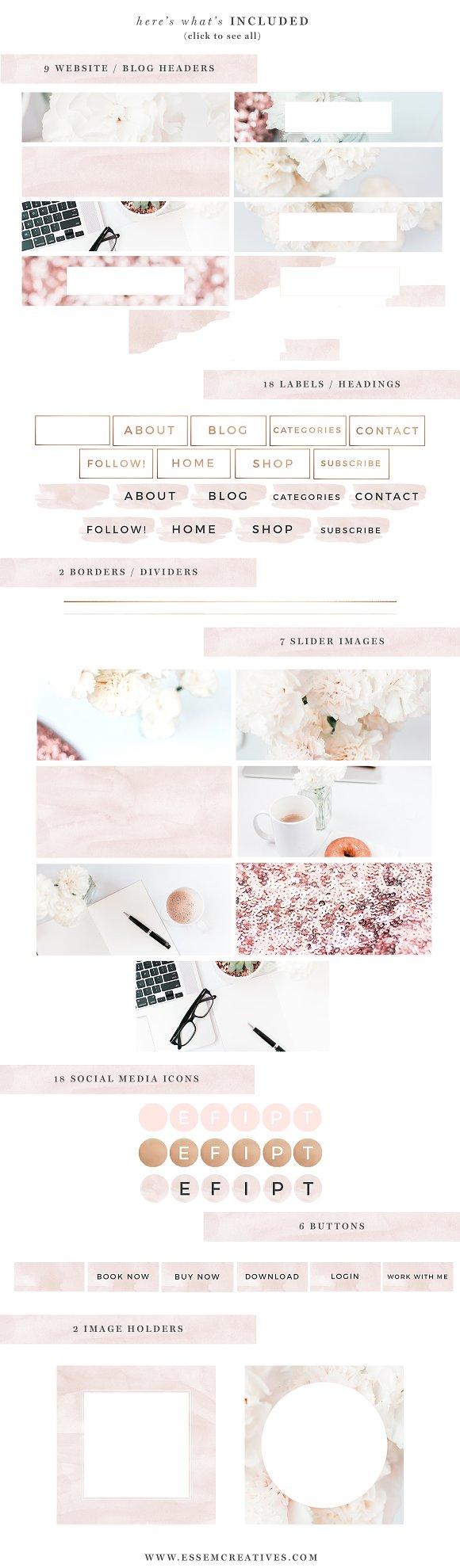 Modern Rose Gold Web Blog Brand Kit Web Elements Creative Market