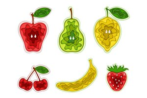 Paper Art Carving Vector Fruits Set