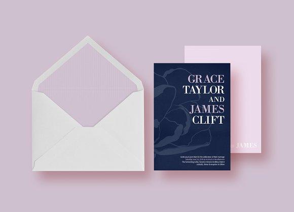 Magnolia Stripes Wedding Invitation