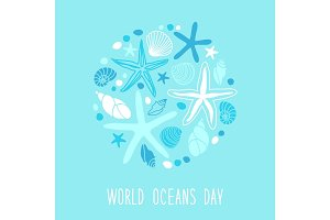 Cute World Oceans Day background with hand drawn shells and starfishes and hand written text