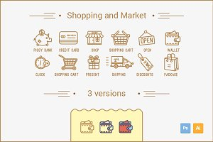 Shopping and Market Line Icons