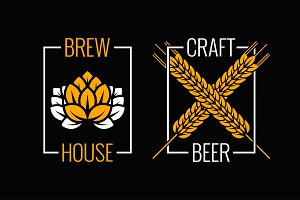 beer logo set design background