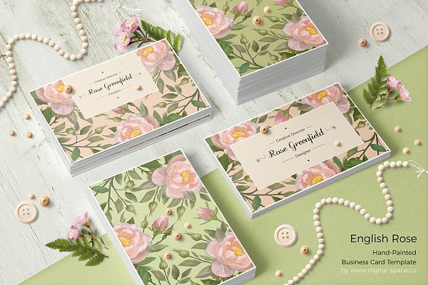 Business Card Templates: Digital Space - English Rose PSD Business Card
