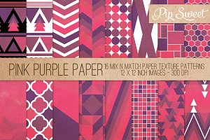 Pink Purple Paper 16 Pattern Set