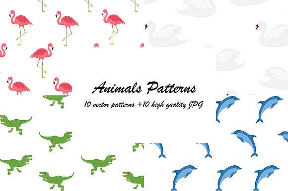 Ten Seamless Animal Pattern