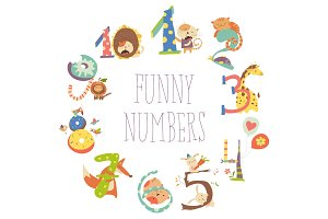Set of Birthday Anniversary Numbers with Funny Animals