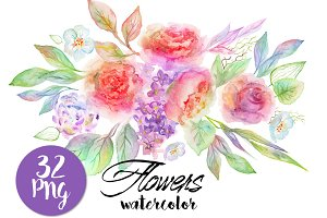 *SET* Watercolor flowers