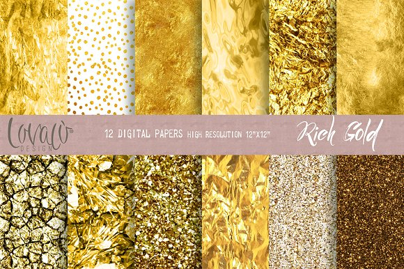 Rich Gold Digital Papers Textures
