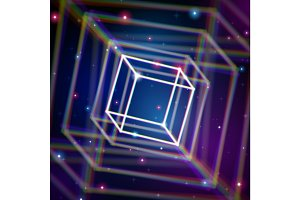 Shiny cube with color aberrations in space