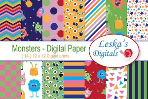 Cute Monsters Digital Paper Pack