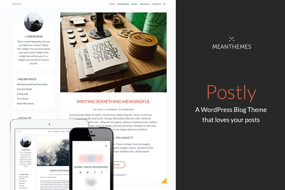 Postly A Theme that loves your posts ~ WordPress Blog Themes