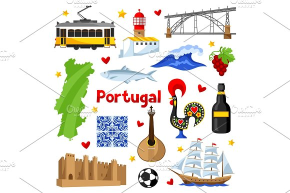 Portugal Icons Set Portuguese National Traditional Symbols And Objects
