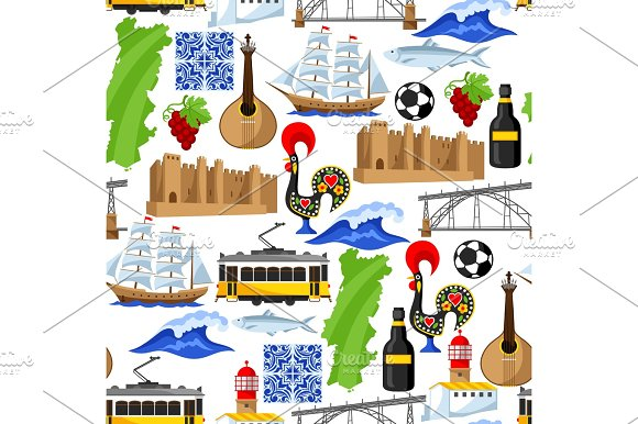 Portugal Seamless Pattern Portuguese National Traditional Symbols And Objects