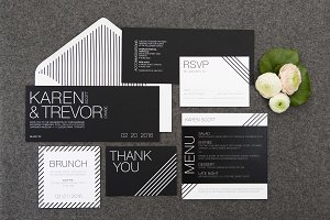 Black & White Stripes Wedding Suite