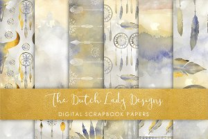 Boho Watercolor Prairie Papers