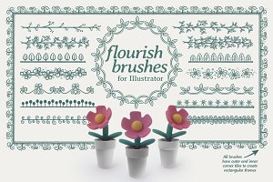 24 flourish brushes