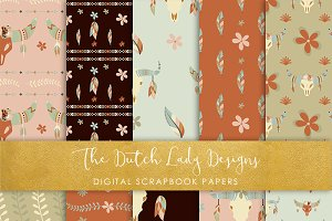 Boho Skull & Feather Pattern Papers