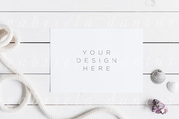 Styled Stock Card Mockup Beach Shel…