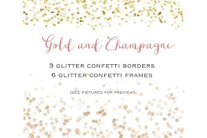 Gold glitter confetti  set