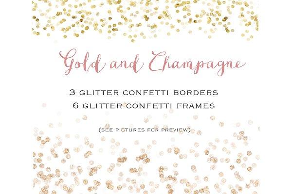 Gold glitter confetti  set