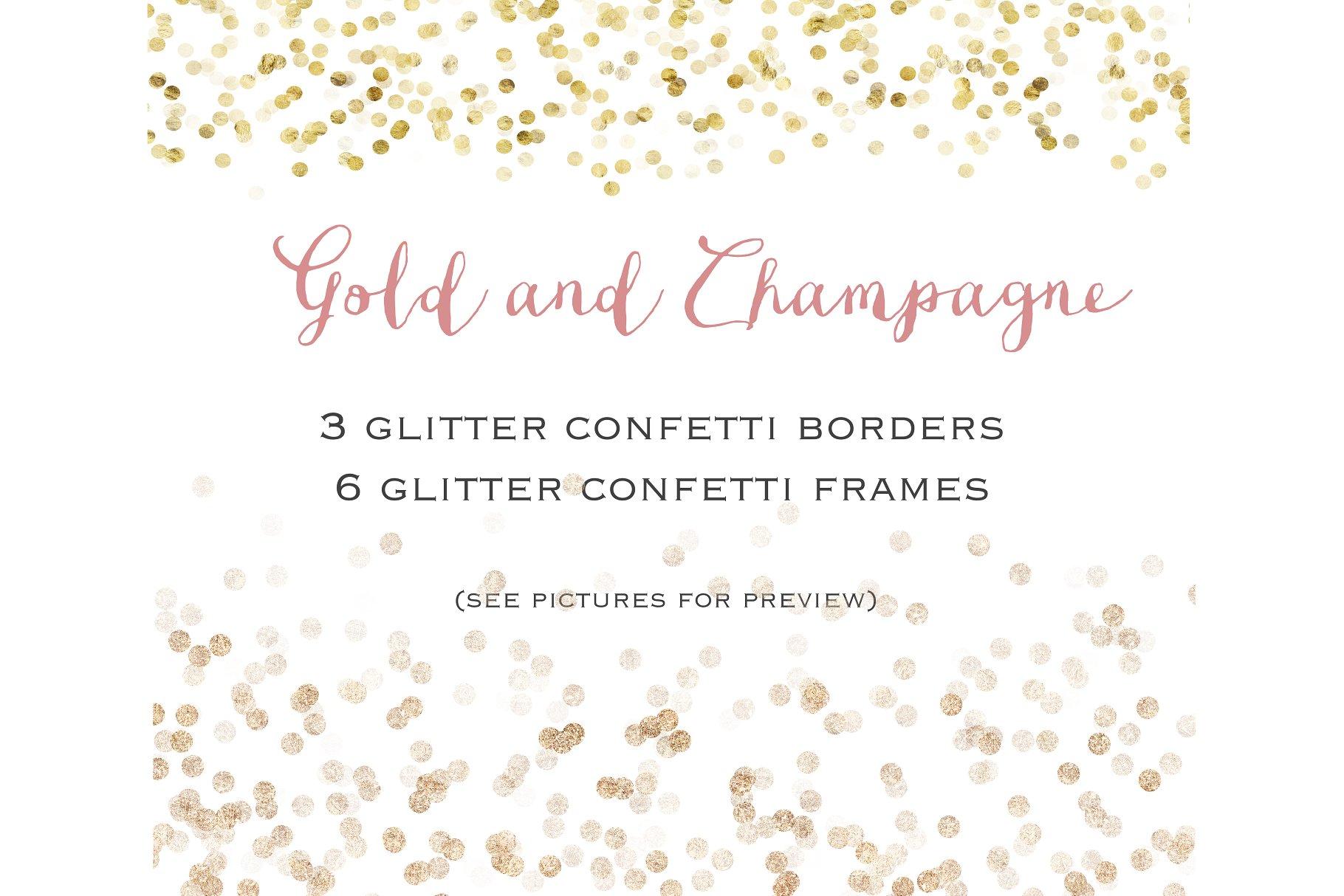 Gold glitter confetti set - Illustrations | Creative Market Pro