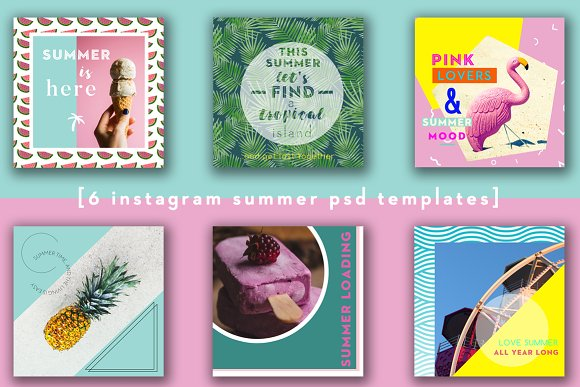 6 Summer PSD Instagram Templates