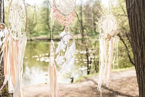 decor on boho style, dream catchers