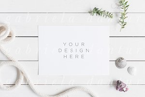 A5 Card Mockup Summer Beach Rope