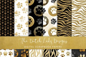 Animal Paw Print Pattern Papers