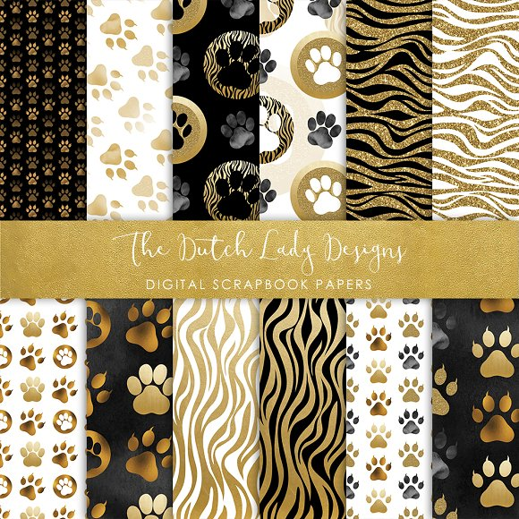 Animal Paw Print Pattern Papers