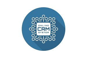 Online CRM System Icon. Flat Design.