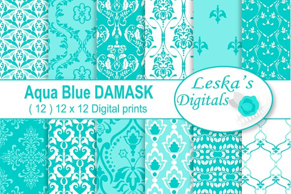 Aqua Digital Paper Patterns