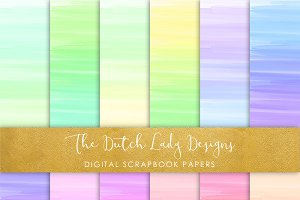 Rainbow Stripes Watercolor Papers