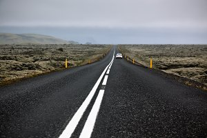 Highway N1 through Iceland landscape