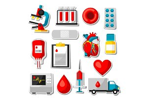 Set of blood donation items. Medical and health care sticker objects