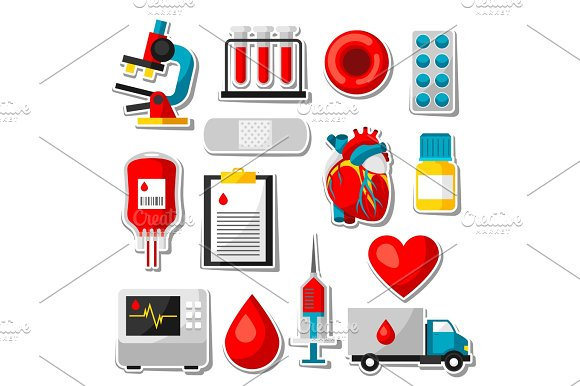 Set Of Blood Donation Items Medical And Health Care Sticker Objects