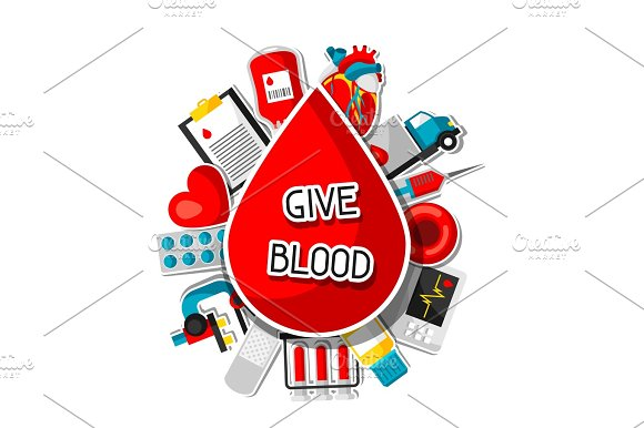 Give Blood Background With Blood Donation Items Medical And Health Care Sticker Objects