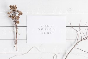 A5 Card Mockup Fall Styled Stock