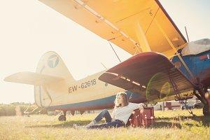 Fly board , girl portrait