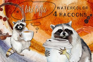 Racoon with coffee