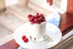 yogurt and fresh raspberries